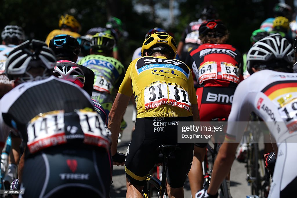 Chris Froome of Great Britain riding for Team Sky rides in the peloton as he defends the overall race leader yellow jersey during stage 17 of the 2015 Tour de France from Digne-Les-Bains to Pra Loup on July 22, 2015 in Digne-les-Bains, France.