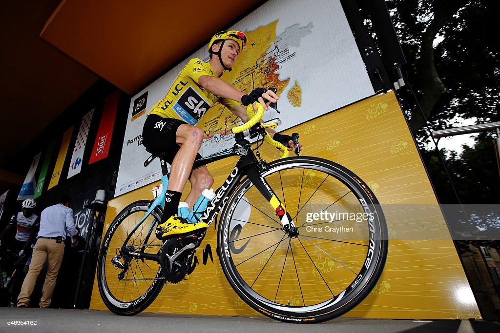 Chris Froome of Great Britain riding for Team Sky wearing the yellow leaders jersey prepares for stage eleven of the 2016 Le Tour de France, a 162.5 km stage from Carcassone to Montpellier on July 13, 2016 in Montpellier, France.