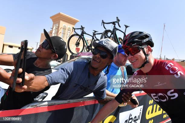 Chris Froome of Team Ineos poses for a selfie photograph before the third stage of the UAE Cycling Tour from alMaroom to Jebel Hafeet on February 25...