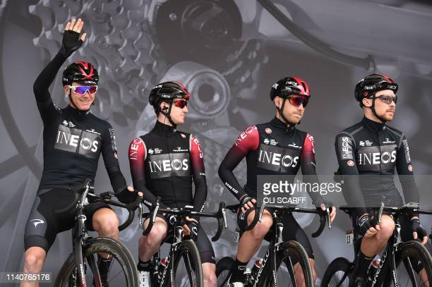 Chris Froome of Team Ineos poses with teammates before the start of the first stage of the Tour de Yorkshire in Doncaster north England on May 2 2019...