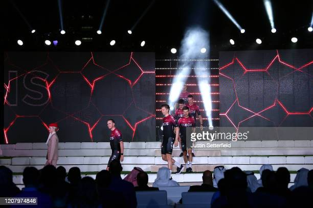 Chris Froome of The United Kingdom and Team INEOS / Andrey Amador Bikkazakova of Costa Rica and Team INEOS / Edward Dunbar of Ireland and Team INEOS...