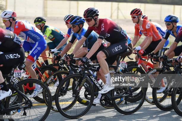 Chris Froome of The United Kingdom and Team INEOS / Domenico Pozzovivo of Italy and NTT Pro Cycling Team / Peloton / during the 6th UAE Tour 2020...