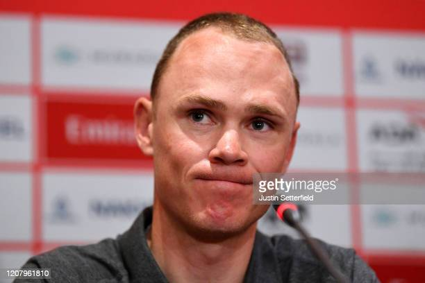 Chris Froome of The United Kingdom and Team INEOS / during the 6th UAE Tour 2020 Press Conference / #UAETour / @uae_tour / on February 22 2020 in...