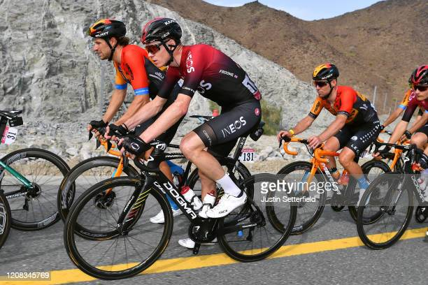 Chris Froome of The United Kingdom and Team INEOS / Marco Haller of Austria and Team Bahrain McLaren / Mark Cavendish of The United Kingdom and Team...