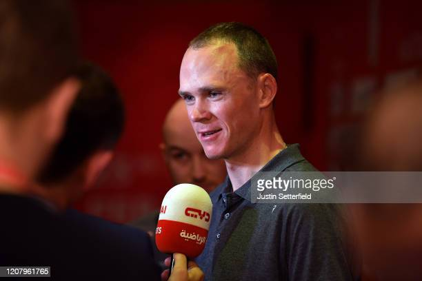 Chris Froome of The United Kingdom and Team INEOS / Press / Media / Interview / during the 6th UAE Tour 2020 - Press Conference / #UAETour /...