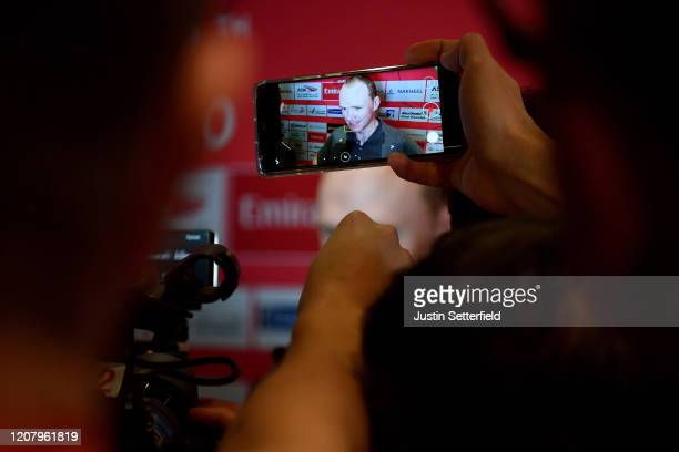 Chris Froome of The United Kingdom and Team INEOS / Press / Media / Interview / Phone / Detail view / during the 6th UAE Tour 2020 Press Conference /...