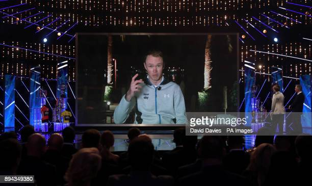 Chris Froome speaks via video link during the BBC Sports Personality of the Year 2017 at the Liverpool Echo Arena