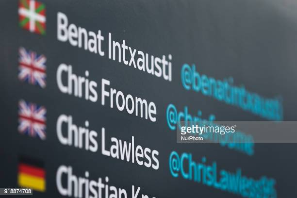 Chris Froome's name on the bus of Team Sky before the 2nd stage of the cycling Tour of Algarve between Sagres and Alto do Foia on February 15 2018