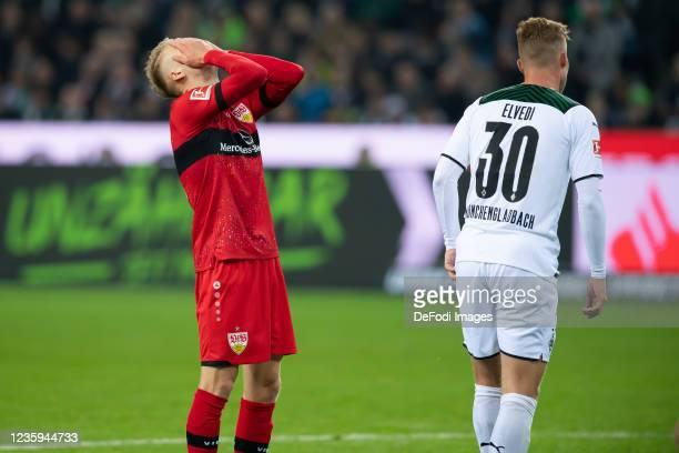 Chris Fuehrich of VfB Stuttgart looks dejected during the Bundesliga match between Borussia Mönchengladbach and VfB Stuttgart at Borussia-Park on...