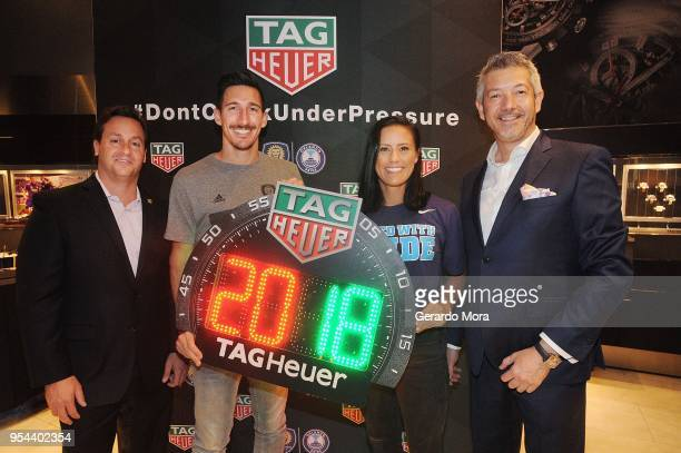 Chris Gallagher Orlando City CRO Sacha Kljestan Orlando City player Ali Krieger Orlando Pride player and Andrea Soriani TAG Heuer VP Marketing...