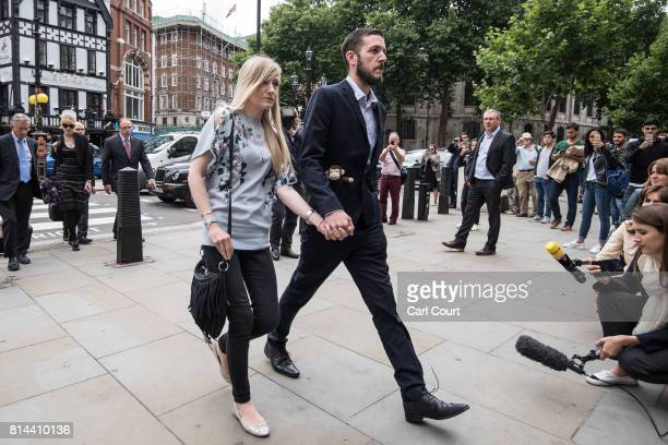 Chris Gard and Connie Yates the parents of terminally ill baby Charlie Gard arrive at The Royal Courts of Justice on July 13 2017 in London England...
