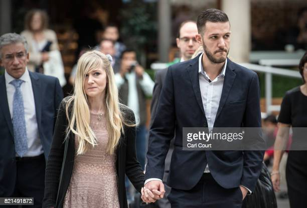 Chris Gard and Connie Yates the parents of terminally ill baby Charlie Gard arrive at The Royal Courts of Justice on July 24 2017 in London England...