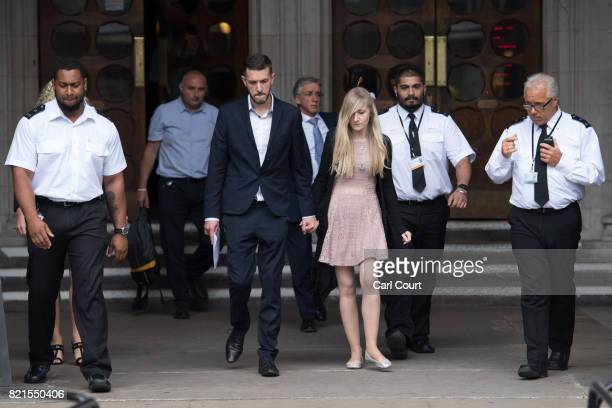Chris Gard and Connie Yates the parents of terminally ill baby Charlie Gard prepare to speak to the media following their decision to end their legal...