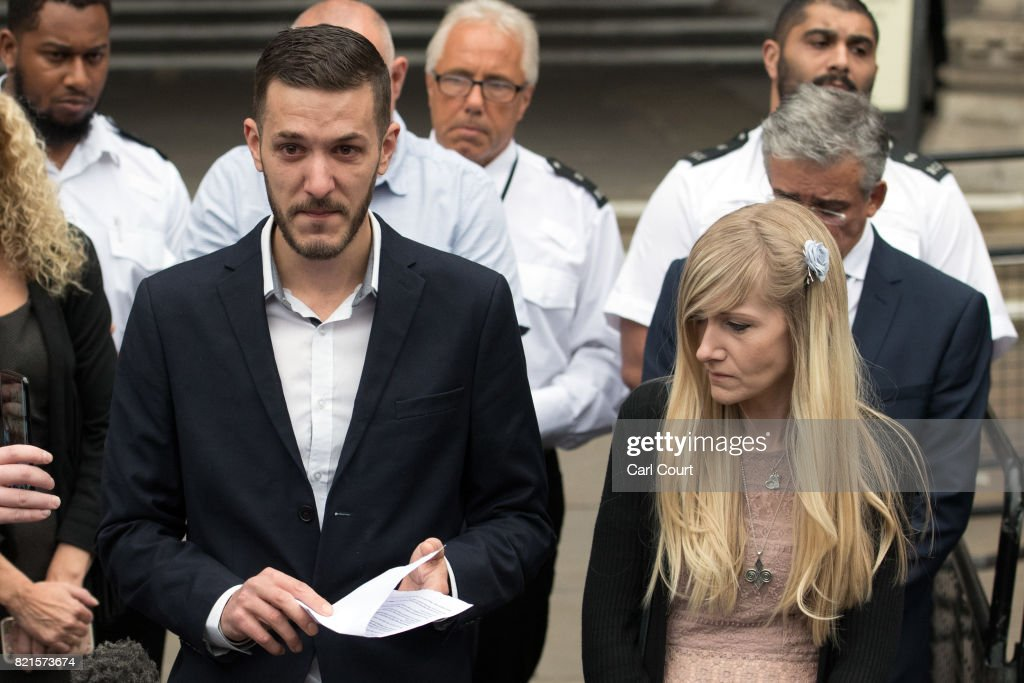 Chris Gard and Connie Yates, the parents of terminally ill baby Charlie Gard, speak to the media following their decision to end their legal challenge to take him to the U.S for experimental treatment, at The Royal Courts of Justice on July 24, 2017 in London, England. The parents of terminally-ill baby Charlie Gard have ended their legal challenge to take him to the U.S for treatment after an American doctor said it was too late to give him nucleoside therapy.