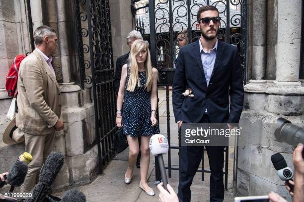 Chris Gard and Connie Yates the parents of terminally ill toddler Charlie Gard prepare to address the media outside the High Court on July 10 2017 in...