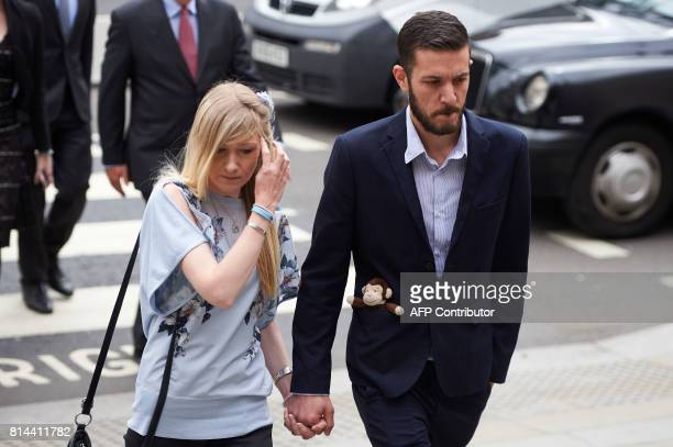 Chris Gard and Connie Yates the parents of terminallyill 11monthold Charlie Gard arrive at the High Court in central London on July 14 2017 The...