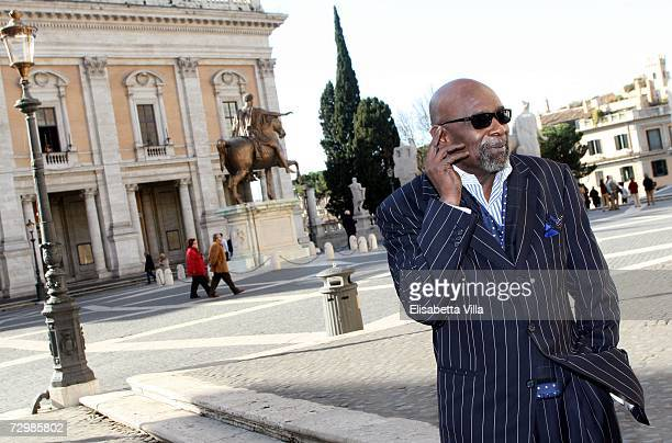 Chris Gardner author of the autobiographic book 'The Pursuit of Happyness' poses at the Square of Campidoglio on January 12 2007 in central Rome Italy