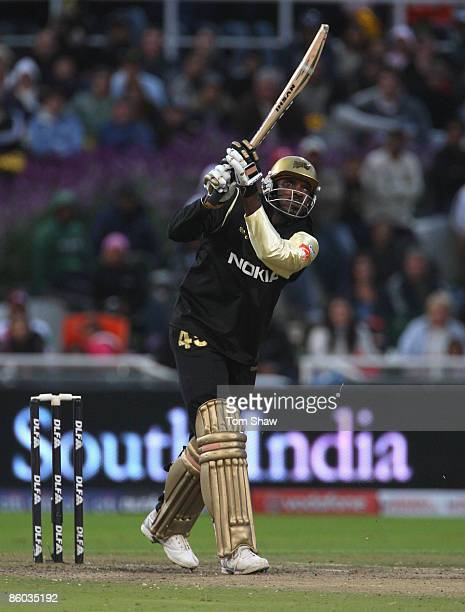 Chris Gayle of Kolkata hits out during the IPL T20 match between Deccan Chargers and Kolkata Knight Riders on April 19, 2009 in Cape Town, South...