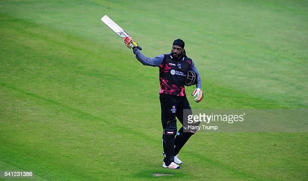 Chris Gayle of Somerset salutes the crowd after being dismissed during the Natwest T20 Blast match between Somerset and Hampshire at The Cooper...