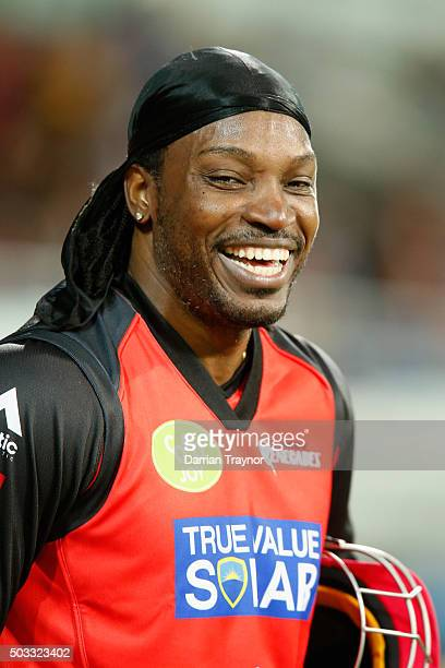 Chris Gayle of the Melbourne Renegades enjoys himself after a scoring 41 runs off just 15 balls during the Big Bash League match between the Hobart...