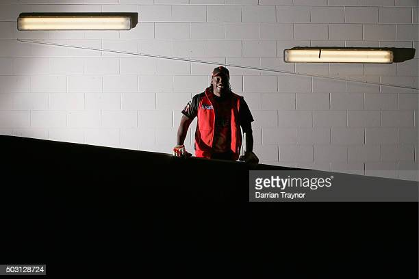 Chris Gayle of the Melbourne Renegades stops for a photo as he walks up the players race to warm up before the Big Bash League match between the...