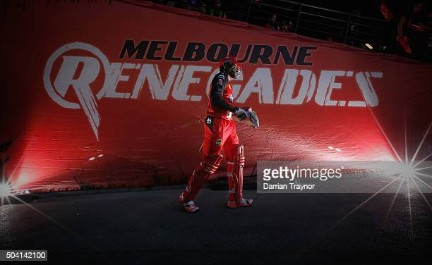 Chris Gayle of the Melbourne Renegades walks out to bat before the Big Bash League match between the Melbourne Renegades and the Melbourne Stars at...