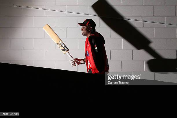 Chris Gayle of the Melbourne Renegades walks up the players race to warm up before the Big Bash League match between the Melbourne Stars and the...