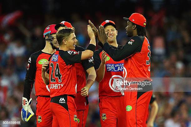 Chris Gayle of the Renegades celebrates with teammate Xavier Doherty after taking a catch to dismiss Tim Ludeman of the Strikers from the bowling of...