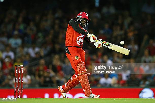 Chris Gayle of the Renegades hits a six during the Big Bash League match between the Melbourne Renegades and the Adelaide Strikers at Etihad Stadium...