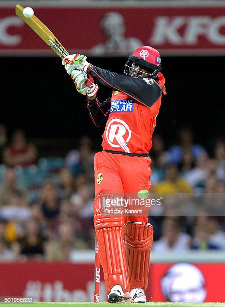 Chris Gayle of the Renegades plays a shot during the Big Bash League match between the Brisbane Heat and the Melbourne Renegades at The Gabba on...