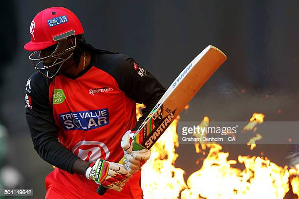 Chris Gayle of the Renegades walks onto the field to bat during the Big Bash League match between the Melbourne Renegades and the Melbourne Stars at...