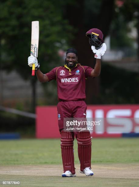 Chris Gayle of The West Indies acknowledges his century during The ICC Cricket World Cup Qualifier between The West Indies and The UAE at The Old...