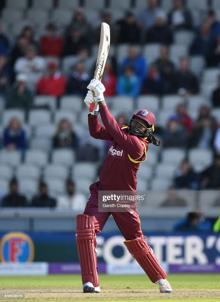 Chris Gayle of the West Indies bats during the 1st Royal London One Day International match between England and the West Indies at Old Trafford on September 19, 2017 in Manchester, England.