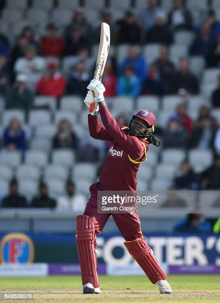 Chris Gayle of the West Indies bats during the 1st Royal London One Day International match between England and the West Indies at Old Trafford on...