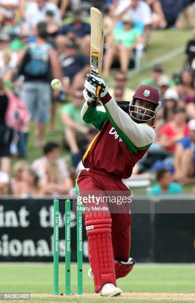 Chris Gayle of the West Indies bats during the fifth One Day International match between the New Zealand Blackcaps and the West Indies at McLean Park...