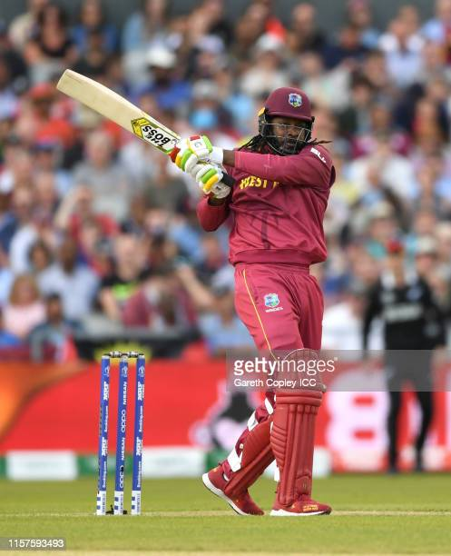 Chris Gayle of the West Indies bats during the Group Stage match of the ICC Cricket World Cup 2019 between West Indies and New Zealand at Old...