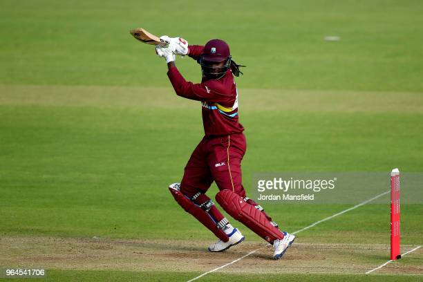 Chris Gayle of the West Indies bats during the T20 match between ICC World XI and West Indies at Lord's Cricket Ground on May 31 2018 in London...