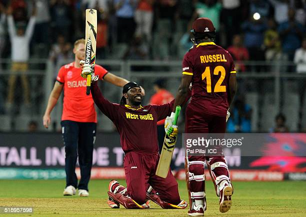 Chris Gayle of the West Indies celebrates his century during the ICC World Twenty20 India 2016 match between West Indies and England at the Wankhede...