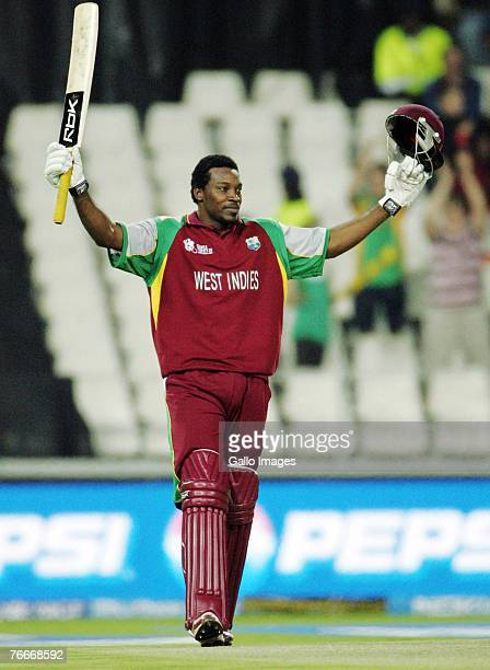 Chris Gayle of the West Indies celebrates his century during the ICC Twenty20 Cricket World Cup match between South Africa and West Indies at...