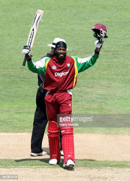 Chris Gayle of the West Indies celebrates reaching his century during the fifth One Day International match between the New Zealand Blackcaps and the...