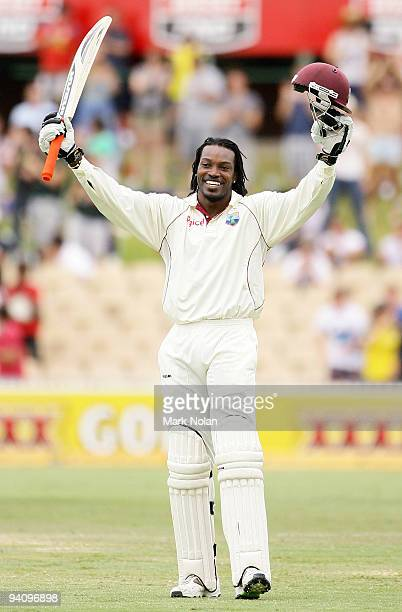 Chris Gayle of the West Indies celebrates reaching his century during day four of the Second Test Match between Australia and the West Indies at...