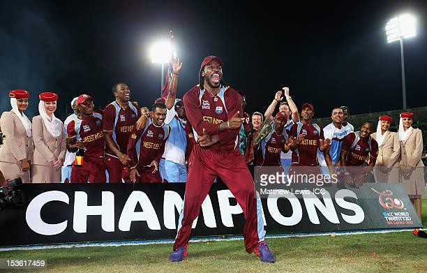 Chris Gayle of the West Indies celebrates winning the ICC World Twenty20 2012 Final between Sri Lanka and West Indies at R. Premadasa Stadium on...