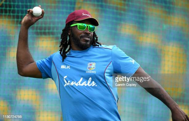Chris Gayle of the West Indies during a net session at The Kensington Oval on February 19 2019 in Bridgetown Barbados