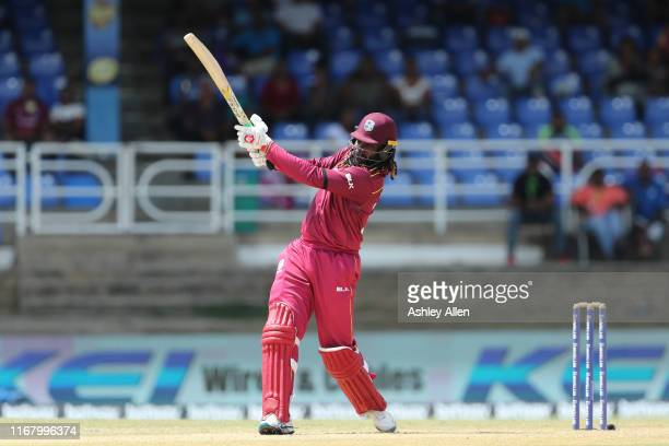 Chris Gayle of the West Indies en route to 72 during the third MyTeam11 ODI between the West Indies and India at the Queen's Park Oval on August 14,...