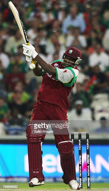 Chris Gayle of the West Indies in action during the ICC Twenty20 Cricket World Cup match between South Africa and West Indies at Wanderers Stadium on...