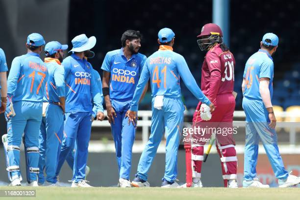Chris Gayle of the West Indies is dismissed for 72 during the third MyTeam11 ODI between the West Indies and India at the Queen's Park Oval on August...