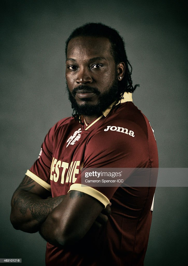 Chris Gayle of the West Indies poses during the West Indies 2015 ICC Cricket World Cup Headshots Session at the Intercontinental on February 8, 2015 in Sydney, Australia.