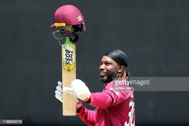 Chris Gayle of the West Indies salutes the crowd as he walks off the field out for 72 during the third MyTeam11 ODI between the West Indies and India...