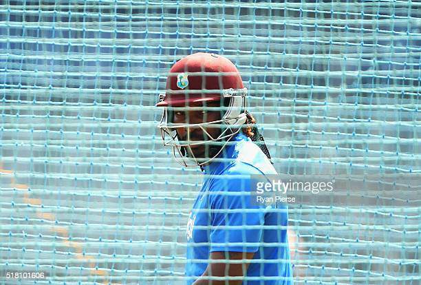 Chris Gayle of the West Indies trains during a West Indies training session at Wankhede Stadium on March 30 2016 in Mumbai India