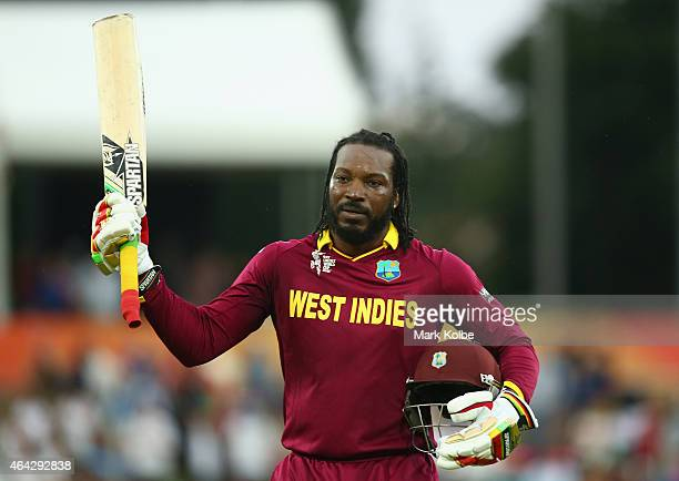 Chris Gayle of West Indies acknowledges the crowd as he leaves the field after scoring 215 during the 2015 ICC Cricket World Cup match between the...